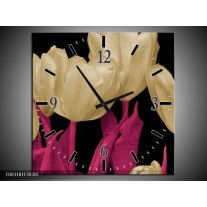 Wandklok op Canvas Tulpen | Kleur: Wit, Zwart, Roze | F003181C