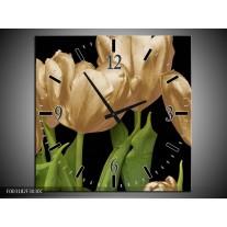Wandklok op Canvas Tulpen | Kleur: Goud, Groen, Zwart | F003182C