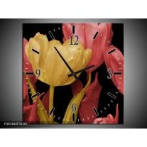Wandklok op Canvas Tulpen | Kleur: Geel, Roze, Zwart | F003184C