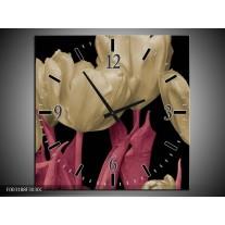 Wandklok op Canvas Tulpen | Kleur: Wit, Zwart, Roze | F003188C