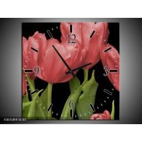 Wandklok op Canvas Tulpen | Kleur: Rood, Groen, Zwart | F003189C