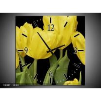 Wandklok op Canvas Tulpen | Kleur: Geel, Groen, Zwart | F003191C