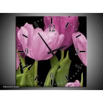 Wandklok op Canvas Tulpen | Kleur: Paars, Groen, Zwart | F003195C