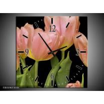 Wandklok op Canvas Tulpen | Kleur: Roze, Groen, Zwart | F003196C