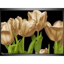 Foto canvas schilderij Tulpen | Goud, Groen, Zwart