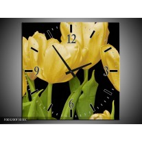 Wandklok op Canvas Tulpen | Kleur: Geel, Groen, Zwart | F003200C