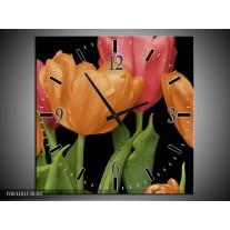 Wandklok op Canvas Tulpen | Kleur: Oranje, Rood, Groen | F003201C
