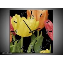 Wandklok op Canvas Tulpen | Kleur: Geel, Oranje, Rood | F003202C