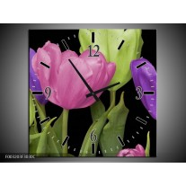 Wandklok op Canvas Tulpen | Kleur: Paars, Groen, Roze | F003203C