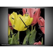 Wandklok op Canvas Tulpen | Kleur: Geel, Rood, Zwart | F003204C