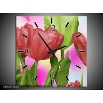Wandklok op Canvas Tulpen | Kleur: Rood, Groen, Paars | F003205C