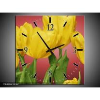 Wandklok op Canvas Tulpen | Kleur: Geel, Rood, Groen | F003206C