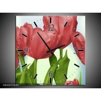 Wandklok op Canvas Tulpen | Kleur: Rood, Groen, Blauw | F003207C