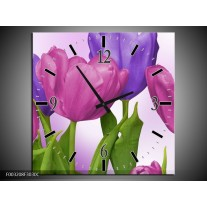 Wandklok op Canvas Tulpen | Kleur: Paars, Roze, Groen | F003208C