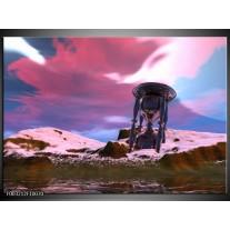 Glas schilderij Abstract | Paars, Blauw, Grijs