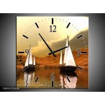 Wandklok op Canvas Zeilboot | Kleur: Bruin, Wit, Grijs | F003217C