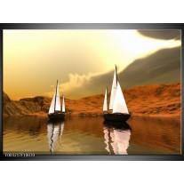 Glas schilderij Zeilboot | Bruin, Wit, Grijs