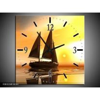 Wandklok op Canvas Zeilboot | Kleur: Geel, Bruin, Wit | F003218C