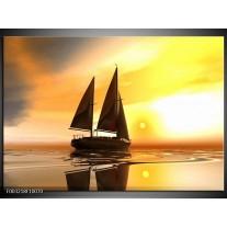 Glas schilderij Zeilboot | Geel, Bruin, Wit