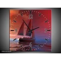 Wandklok op Canvas Zeilboot | Kleur: Rood, Blauw, Geel | F003219C