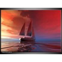 Glas schilderij Zeilboot | Rood, Blauw, Geel