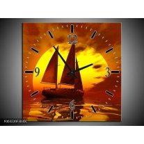 Wandklok op Canvas Zeilboot | Kleur: Geel, Rood, Bruin | F003220C