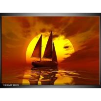 Glas schilderij Zeilboot | Geel, Rood, Bruin
