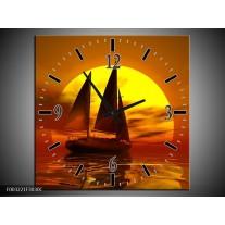 Wandklok op Canvas Zeilboot | Kleur: Geel, Rood, Bruin | F003221C