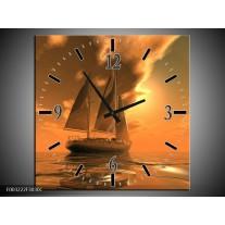 Wandklok op Canvas Zeilboot | Kleur: Bruin, Geel, Grijs | F003222C