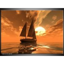 Glas schilderij Zeilboot | Bruin, Geel, Grijs