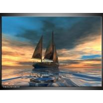 Glas schilderij Zeilboot | Blauw, Geel, Grijs