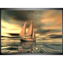 Glas schilderij Zeilboot | Geel, Wit, Grijs