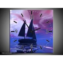 Wandklok op Canvas Zeilboot | Kleur: Blauw, Paars, Zwart | F003226C