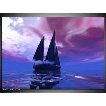 Glas schilderij Zeilboot | Blauw, Paars, Zwart