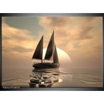 Glas schilderij Zeilboot | Wit, Grijs, Bruin