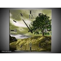 Wandklok op Canvas Natuur | Kleur: Groen, Grijs, Wit | F003230C