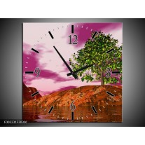 Wandklok op Canvas Natuur   Kleur: Groen, Paars, Roze   F003231C
