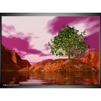 Glas schilderij Natuur | Groen, Paars, Roze