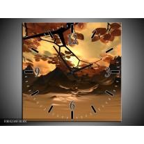 Wandklok op Canvas Natuur | Kleur: Bruin, Wit, Geel | F003234C