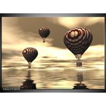 Glas schilderij Luchtballon | Bruin, Grijs, Wit