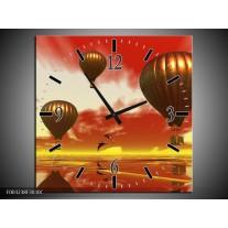 Wandklok op Canvas Luchtballon | Kleur: Geel, Goud, Rood | F003238C