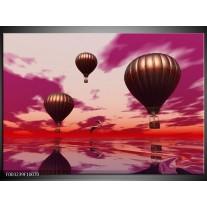 Foto canvas schilderij Luchtballon | Paars, Rood, Grijs