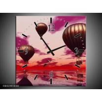 Wandklok op Canvas Luchtballon | Kleur: Paars, Rood, Grijs | F003239C