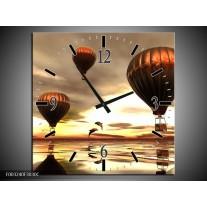 Wandklok op Canvas Luchtballon | Kleur: Grijs, Bruin, Wit | F003240C