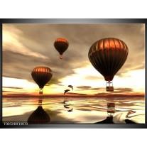 Glas schilderij Luchtballon   Grijs, Bruin, Wit