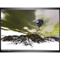 Foto canvas schilderij Luchtballon | Groen, Wit, Grijs