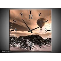 Wandklok op Canvas Luchtballon | Kleur: Bruin, Zwart, Wit | F003242C