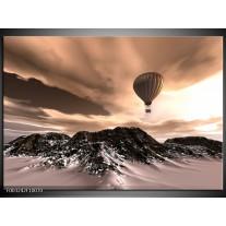 Glas schilderij Luchtballon | Bruin, Zwart, Wit