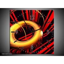Wandklok op Canvas Abstract | Kleur: Goud, Rood, Zwart | F003244C