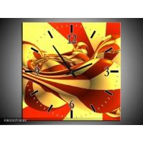 Wandklok op Canvas Abstract | Kleur: Geel, Rood | F003247C